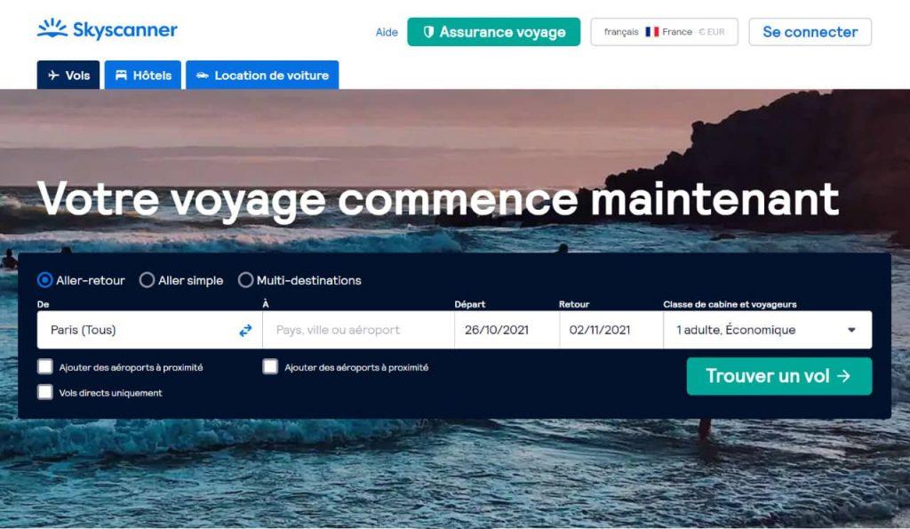 Skyscanner : comparateur de voyage, vols pas chers, billet d'avion, hôtels, location de voiture...