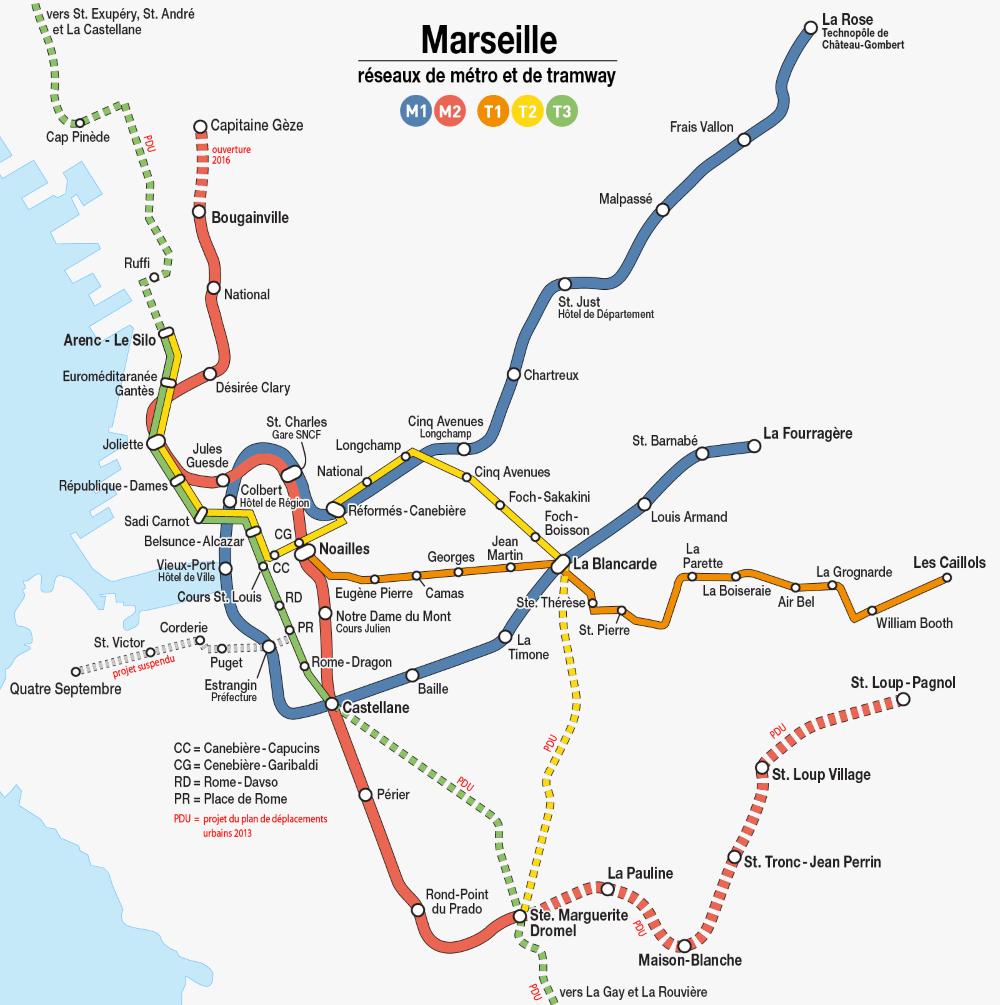 carte des transports à Marseille métro et tramway
