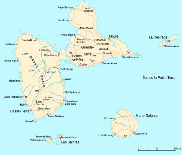 carte Guadeloupe tourisme